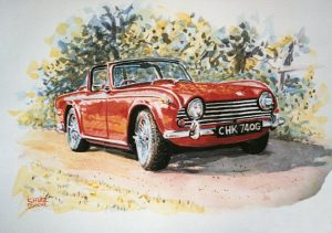 Painting of sports car
