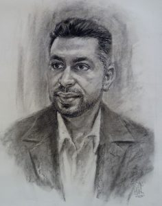 Charcoal portrait by Stan Hurr