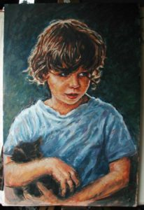 Oil Painting Boy by Stan Hurr