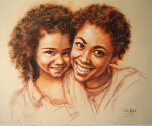 Mother and Child Sanguine Portrait by Stan Hurr