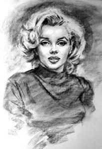 Marilyn Monroe Charcoal Portrait by Stan Hurr