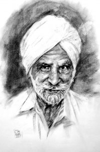 Sikh Man Charcoal Portrait by Stan Hurr