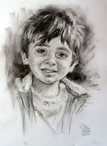 Young Boy Charcoal Portrait by Stan Hurr