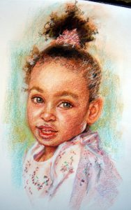 Young Girl Colour Pastel Portrait by Stan Hurr