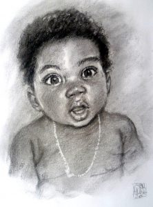 Baby Charcoal Portrait by Stan Hurr