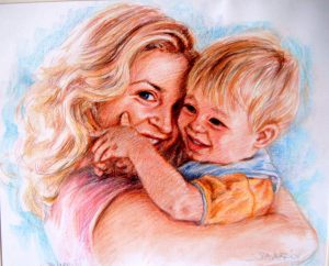 Woman and Baby Colour Pastel Portrait by Stan Hurr