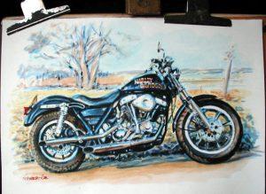 Harley Davidson Watercolour by Stan Hurr
