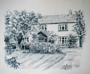 Watercolour House Black and White by Stan Hurr