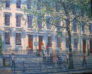 Large Building Painting by Stan Hurr