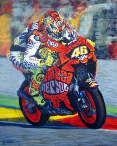 Superbike Oil Painting by Stan Hurr