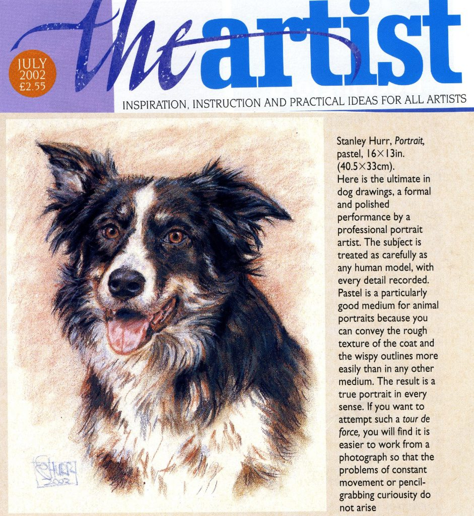 Review of Stan Hurr dog portrait in The Artist magazine